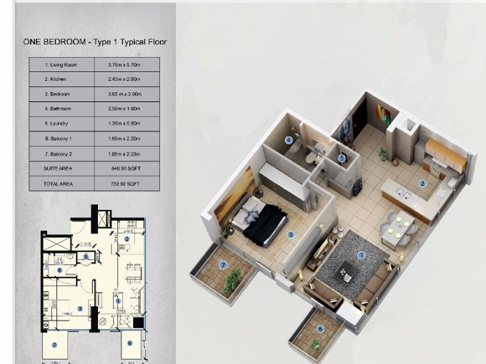 Planning of the apartment 1BR, 732.92 in Farhad Azizi Residence, Dubai