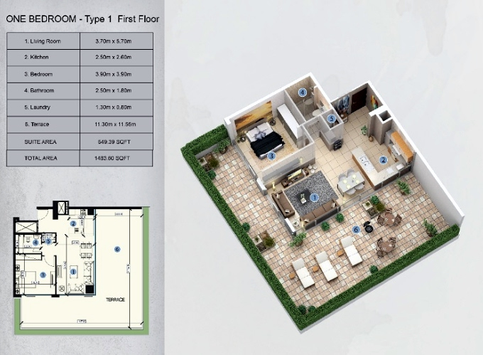 Planning of the apartment 1BR, 1483.6 in Farhad Azizi Residence, Dubai