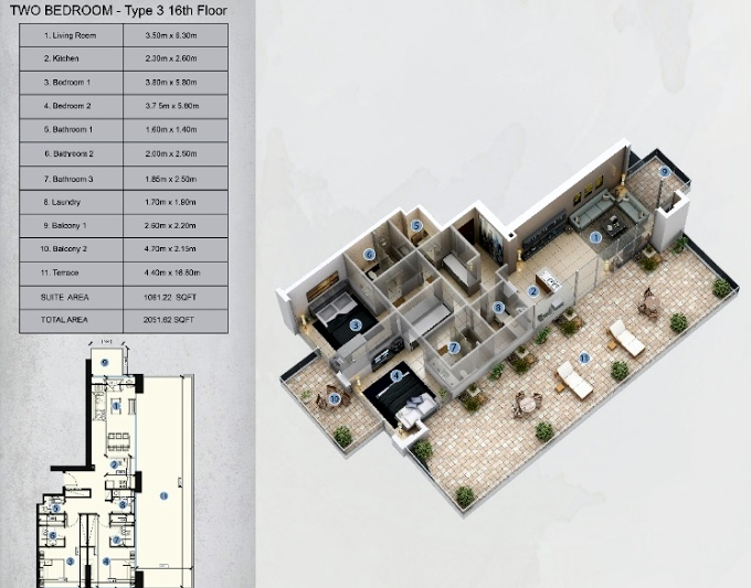 Planning of the apartment 2BR, 2051.62 in Farhad Azizi Residence, Dubai