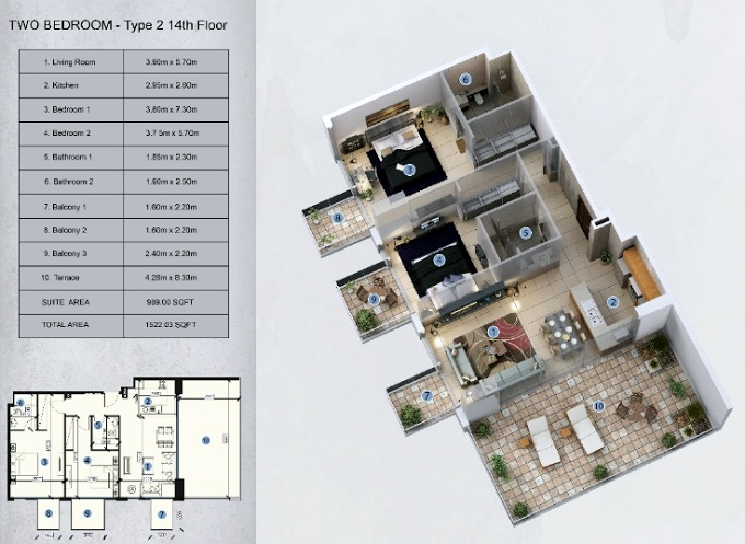 Planning of the apartment 2BR, 1522.03 in Farhad Azizi Residence, Dubai