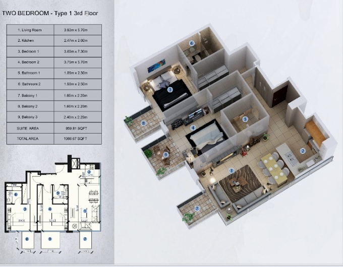 Planning of the apartment 2BR, 1086.87 in Farhad Azizi Residence, Dubai