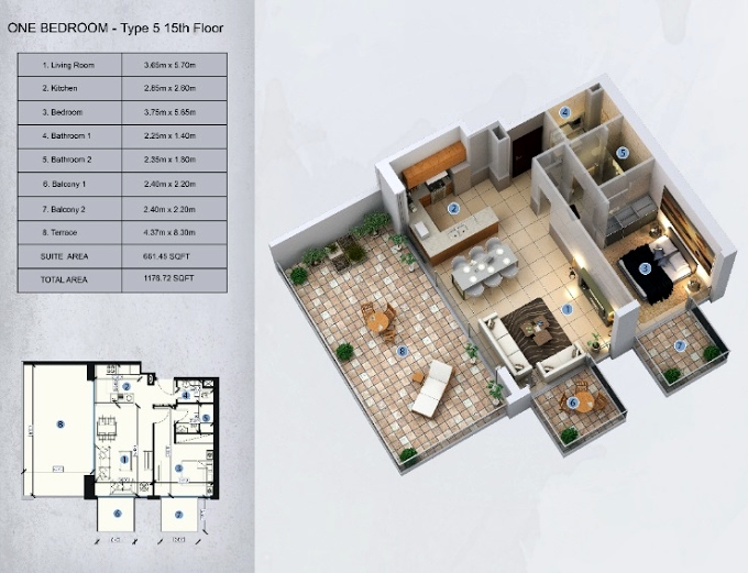 Planning of the apartment 1BR, 1178.72 in Farhad Azizi Residence, Dubai