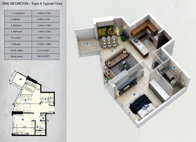 Planning of the apartment 1BR, 666.29 in Farhad Azizi Residence, Dubai