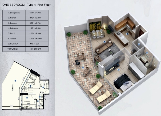 Planning of the apartment 1BR, 1320.31 in Farhad Azizi Residence, Dubai