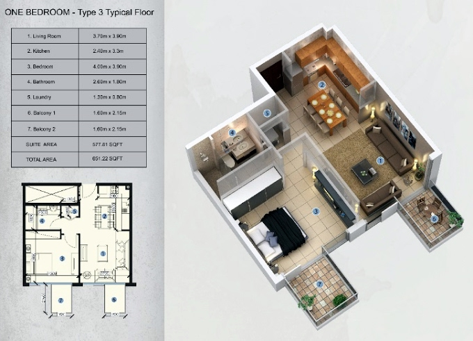 Planning of the apartment 1BR, 651.22 in Farhad Azizi Residence, Dubai