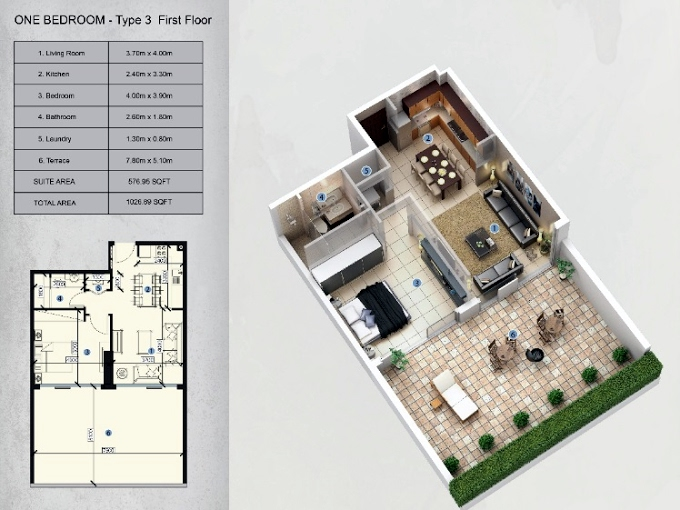 Planning of the apartment 1BR, 1026.89 in Farhad Azizi Residence, Dubai