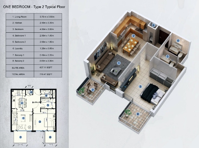 Planning of the apartment 1BR, 719.47 in Farhad Azizi Residence, Dubai