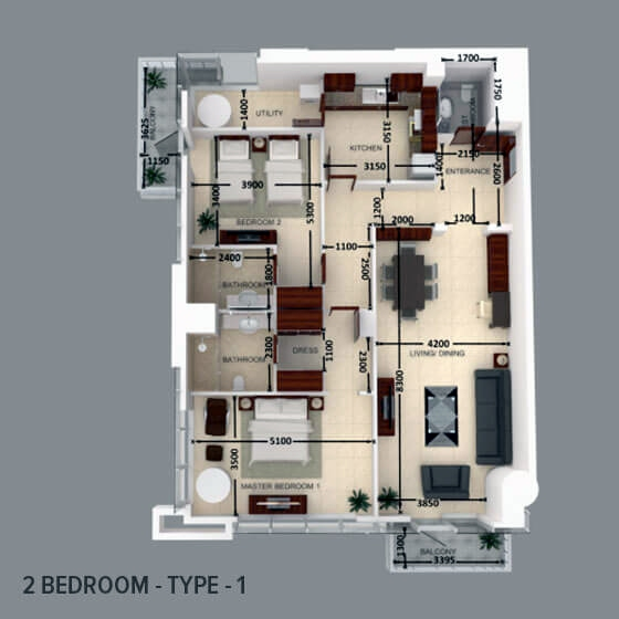 Planning of the apartment 2BR, 1464.87 in Al Safeer Tower 2, Dubai