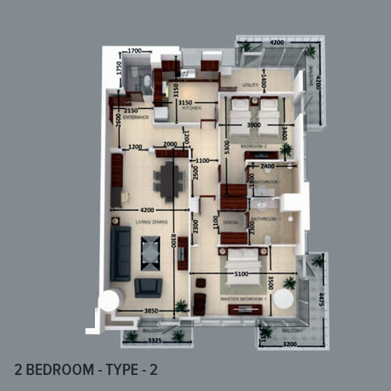 Planning of the apartment 2BR, 1607.61 in Al Safeer Tower 2, Dubai