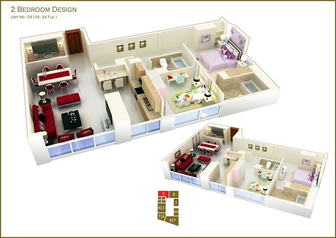Planning of the apartment 2BR, 1563.34 in West Bay Tower, Dubai