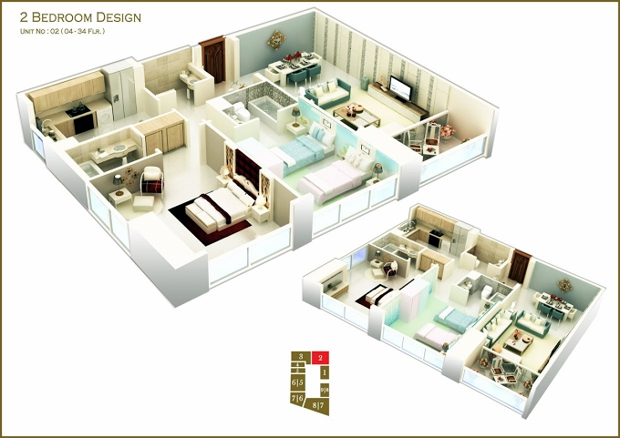 Planning of the apartment 2BR, 1666.54 in West Bay Tower, Dubai
