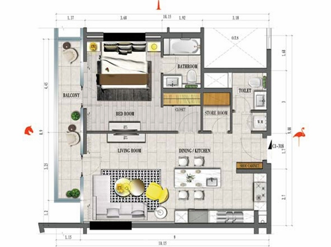 Planning of the apartment 1BR, 892 in Tonino Lamborghini Residence, Dubai
