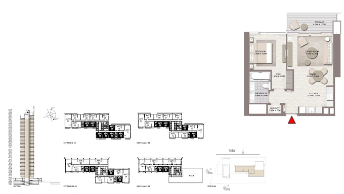 Planning of the apartment 1BR, 696.17 in Palace Residences Dubai Creek Harbour, Dubai