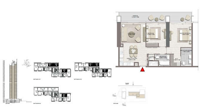 Planning of the apartment 2BR, 1093.4 in Palace Residences Dubai Creek Harbour, Dubai