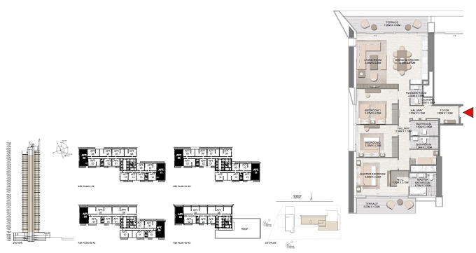 Planning of the apartment 3BR, 1773.03 in Palace Residences Dubai Creek Harbour, Dubai