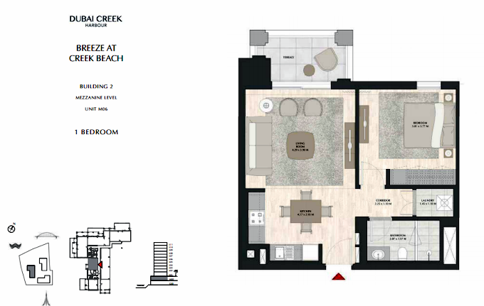 Planning of the apartment 1BR, 697.61 in Breeze, Dubai