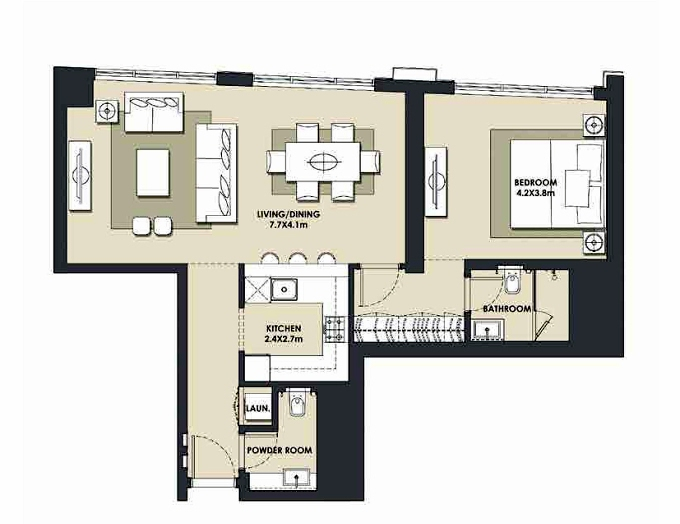 Planning of the apartment 1BR, 882 in Mada Residences, Dubai