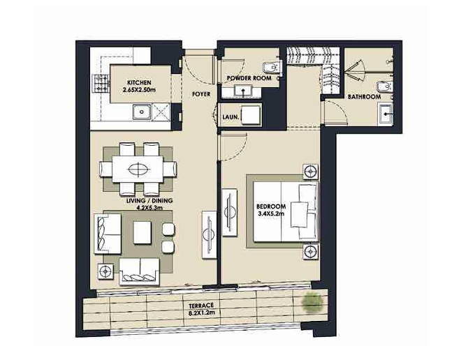 Planning of the apartment 1BR, 899.97 in Mada Residences, Dubai