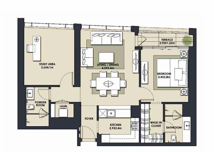 Planning of the apartment 1BR, 1017.83 in Mada Residences, Dubai