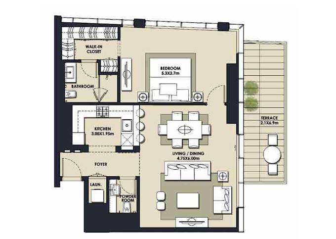 Planning of the apartment 1BR, 1069.61 in Mada Residences, Dubai