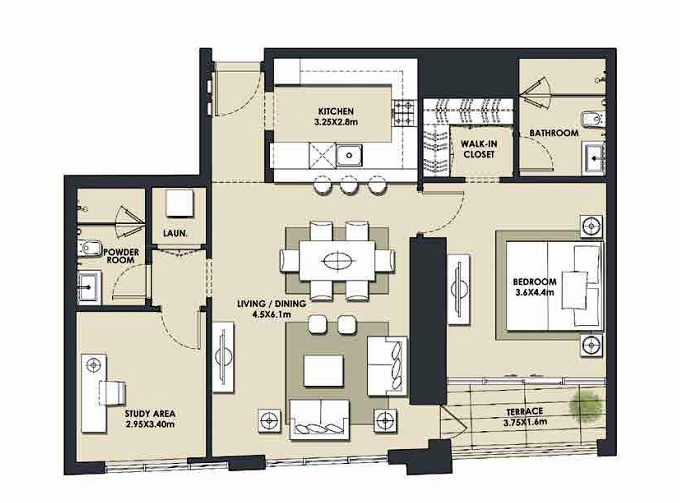 Planning of the apartment 1BR, 1085.65 in Mada Residences, Dubai