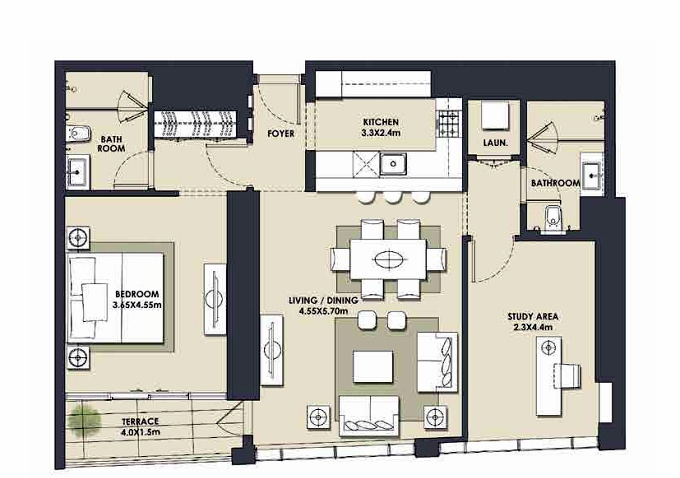 Planning of the apartment 1BR, 1103.25 in Mada Residences, Dubai