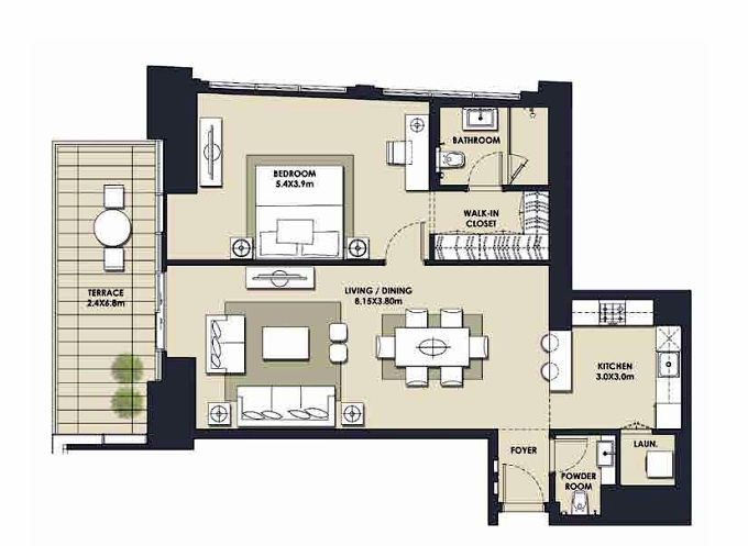 Planning of the apartment 1BR, 1126.77 in Mada Residences, Dubai