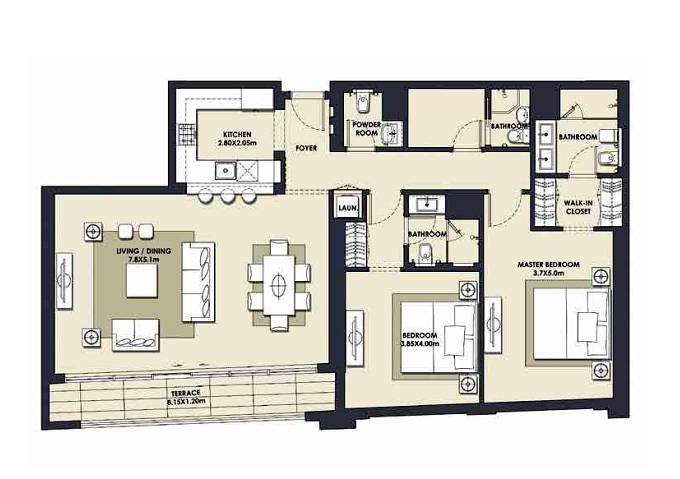 Planning of the apartment 2BR, 1518.68 in Mada Residences, Dubai