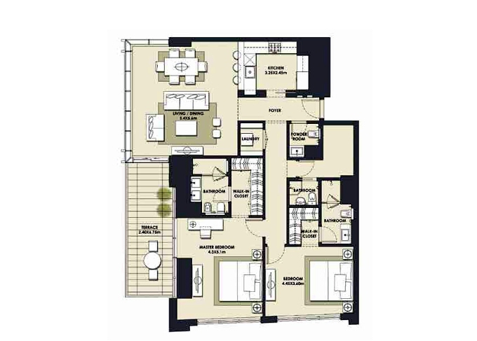 Planning of the apartment 2BR, 1604.68 in Mada Residences, Dubai