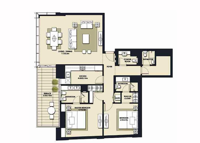 Planning of the apartment 2BR, 1610.93 in Mada Residences, Dubai