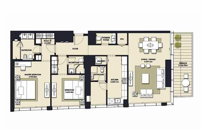 Planning of the apartment 2BR, 1622.98 in Mada Residences, Dubai
