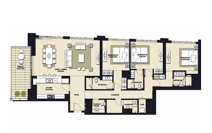 Planning of the apartment 3BR, 2063.44 in Mada Residences, Dubai