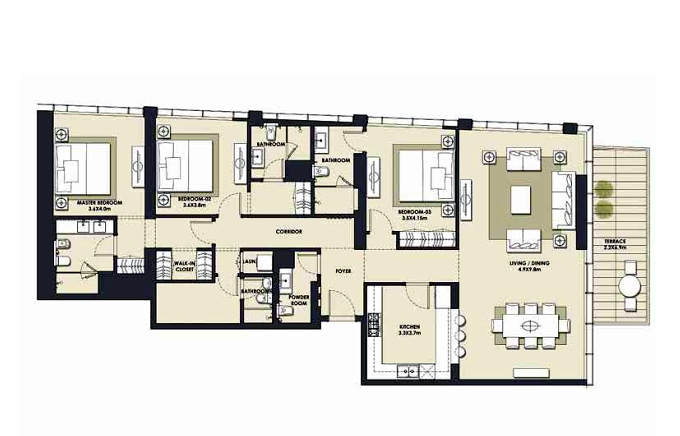 Planning of the apartment 3BR, 2170.33 in Mada Residences, Dubai