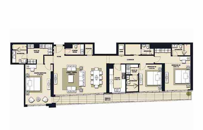 Planning of the apartment 3BR, 2268.28 in Mada Residences, Dubai