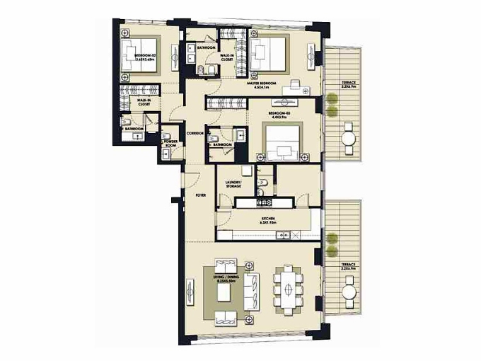Planning of the apartment 3BR, 2360.85 in Mada Residences, Dubai