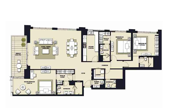 Planning of the apartment 3BR, 2374.41 in Mada Residences, Dubai