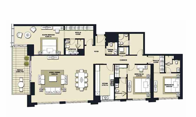 Planning of the apartment 3BR, 2375.27 in Mada Residences, Dubai