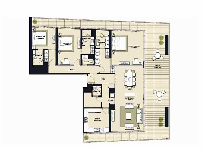 Planning of the apartment 3BR, 3215.39 in Mada Residences, Dubai