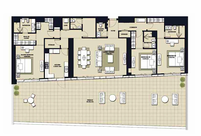 Planning of the apartment 3BR, 4658.83 in Mada Residences, Dubai