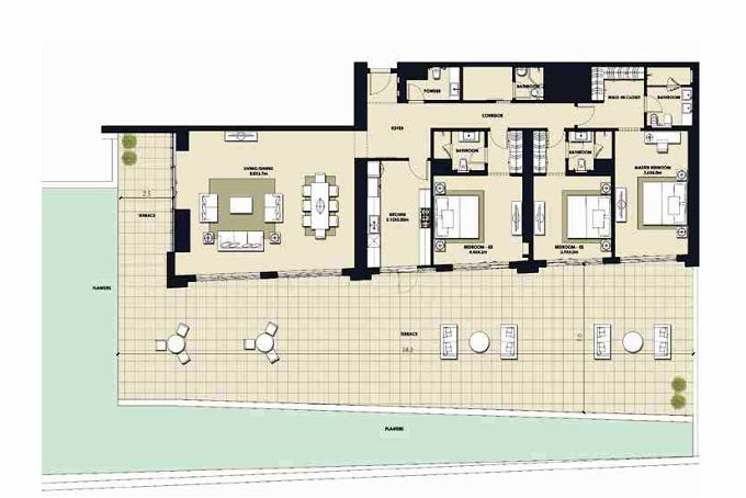 Planning of the apartment 3BR, 8107.58 in Mada Residences, Dubai