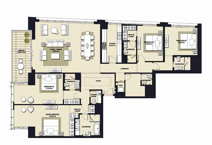 Planning of the apartment 4BR, 2851.46 in Mada Residences, Dubai