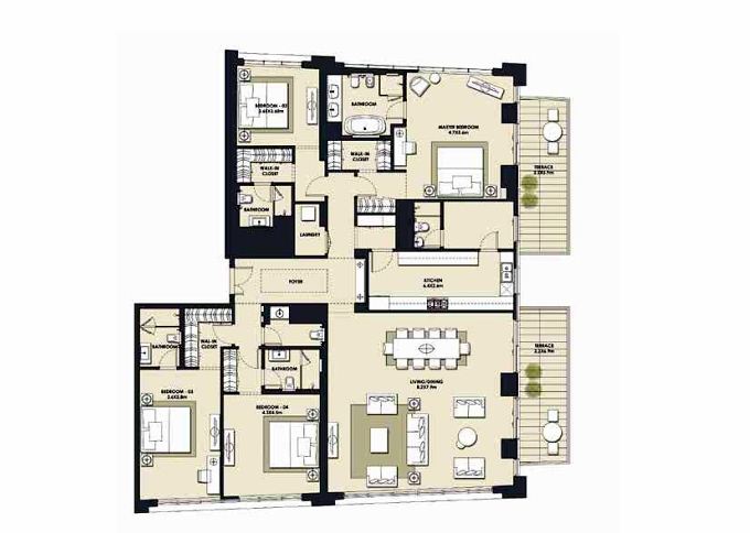 Planning of the apartment 4BR, 3200.65 in Mada Residences, Dubai