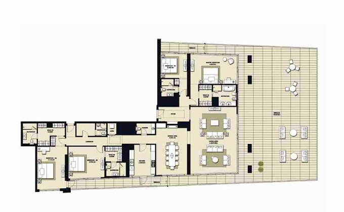 Planning of the apartment 4BR, 5743.83 in Mada Residences, Dubai