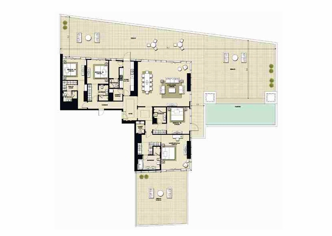 Planning of the apartment 4BR, 12382.9 in Mada Residences, Dubai