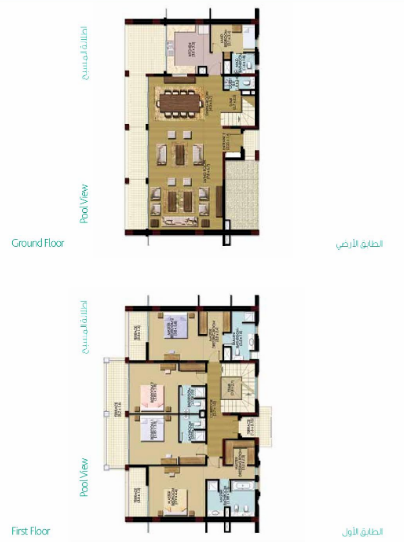 Planning of the apartment Townhouses, 2981.6 in Palma Residences, Dubai
