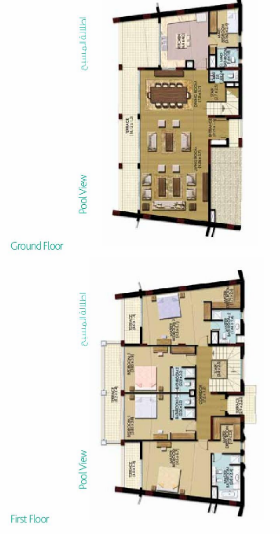 Planning of the apartment Townhouses, 3100 in Palma Residences, Dubai