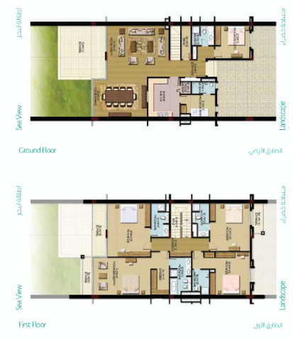 Planning of the apartment Townhouses, 3336.8 in Palma Residences, Dubai