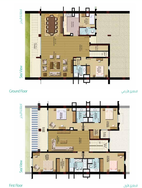 Planning of the apartment Townhouses, 3379.9 in Palma Residences, Dubai