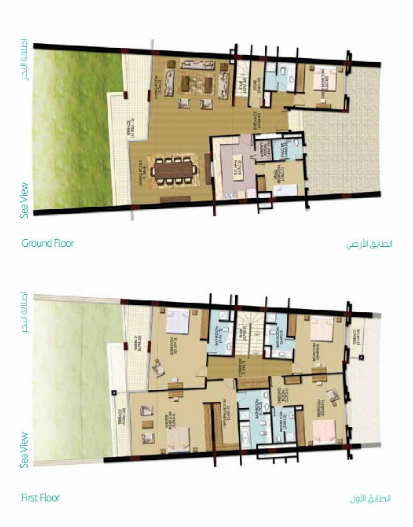 Planning of the apartment Townhouses, 3799.7 in Palma Residences, Dubai