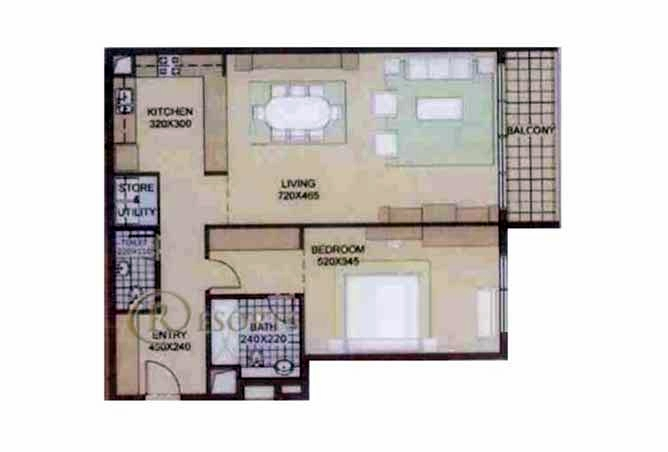 Planning of the apartment 1BR, 1108 in Al Reef Community, Abu Dhabi
